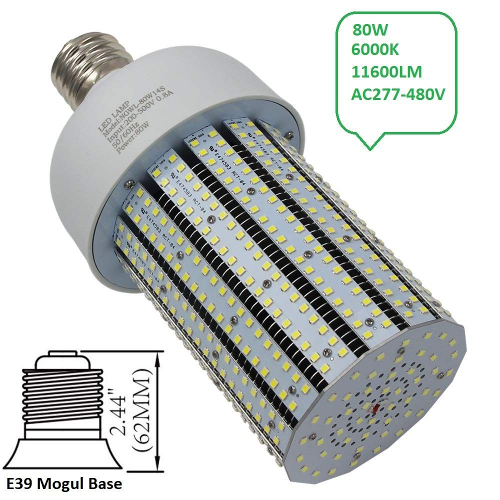 Ngtlight 480v 80w Led Corn Light Bulb 347v 250w Mercury Vapor Equivalent Parking Lot Gas Station Light Retrofit 6000k Br Led Parking Lot Lights Bulb Light Bulb