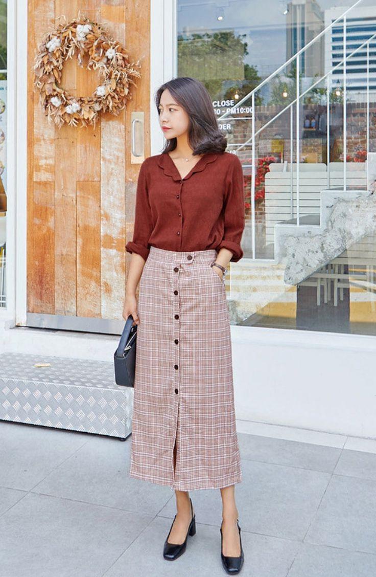 fd715679c8 Seoul Fashion - Buttoned Plaid Long H-Line Skirt #koreanfashion  #koreanstyle #skirt