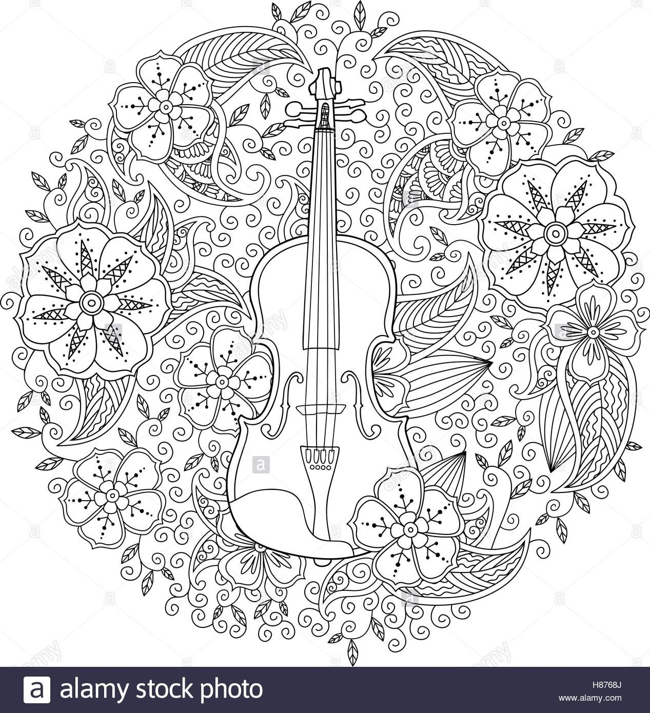 Coloring Page With Ornamental Violin In Circle Shape On White Background Stock Photo Music Coloring Coloring Pages Coloring Books