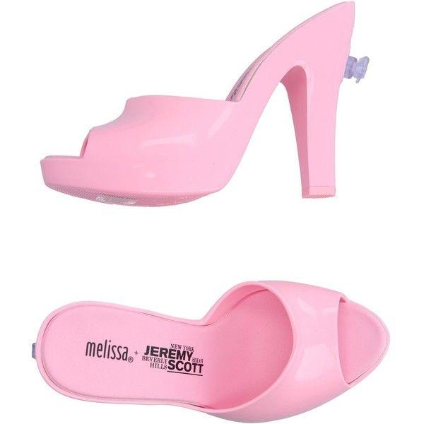 Melissa + Jeremy Scott Sandals ($125) ❤ liked on Polyvore featuring shoes, sandals, pink, melissa shoes, pink shoes, rubber sole shoes, melissa sandals and melissa footwear