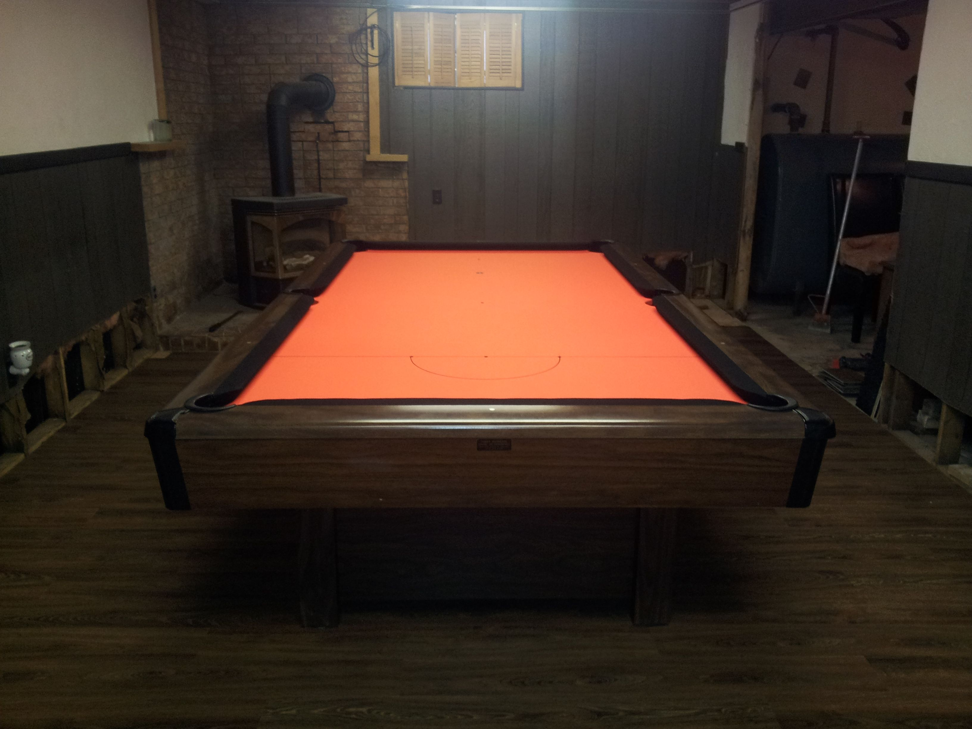 This Old Brunswick Bristol Pool Table Was Reclothed With Orange Bed Cloth And Black Rails To Recreate A Harley Davi Pool Table Room Pool Table Rooms Pool Table