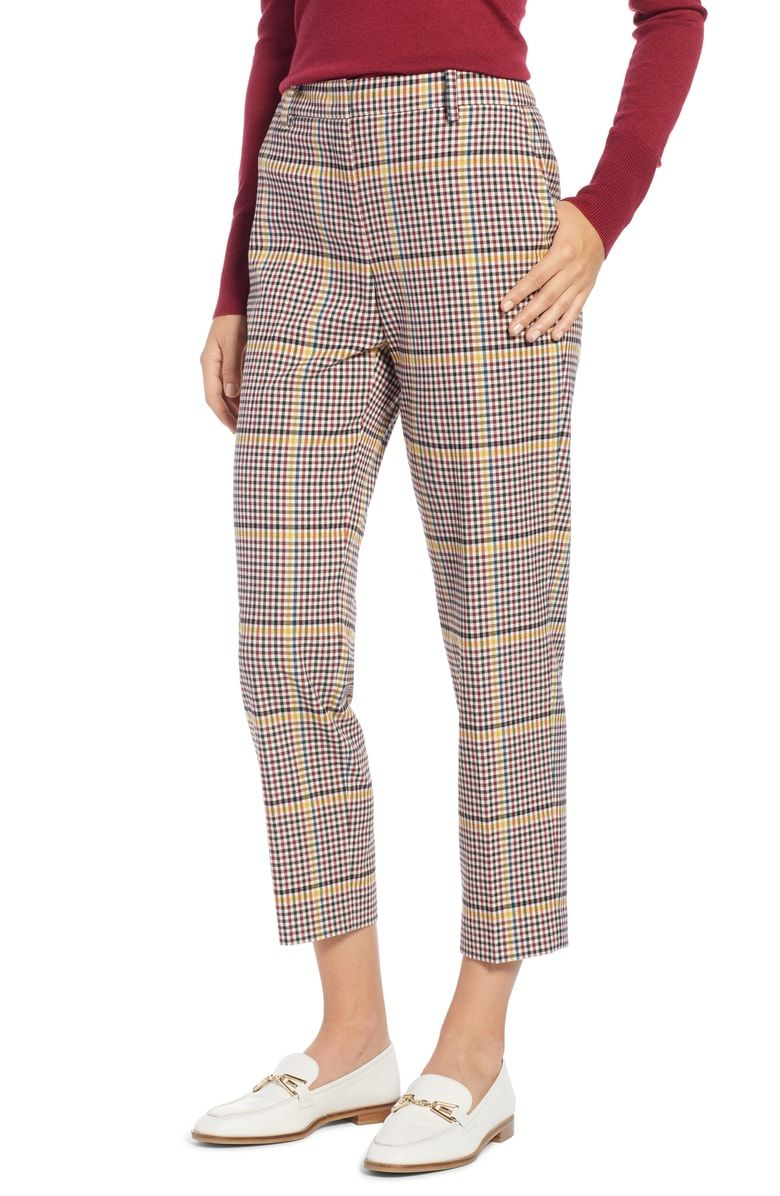 b48697a4fb4 Free shipping and returns on 1901 Plaid Slim Ankle Pants (Regular   Petite)  at Nordstrom.com. Vibrant checks enliven these supple cropped trousers that  ...
