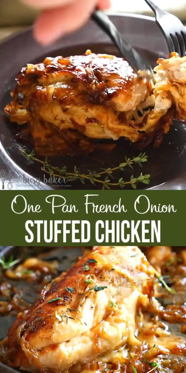 Easy One Pan French Onion Stuffed Chicken -   25 dinner recipes for family main dishes chicken breasts ideas