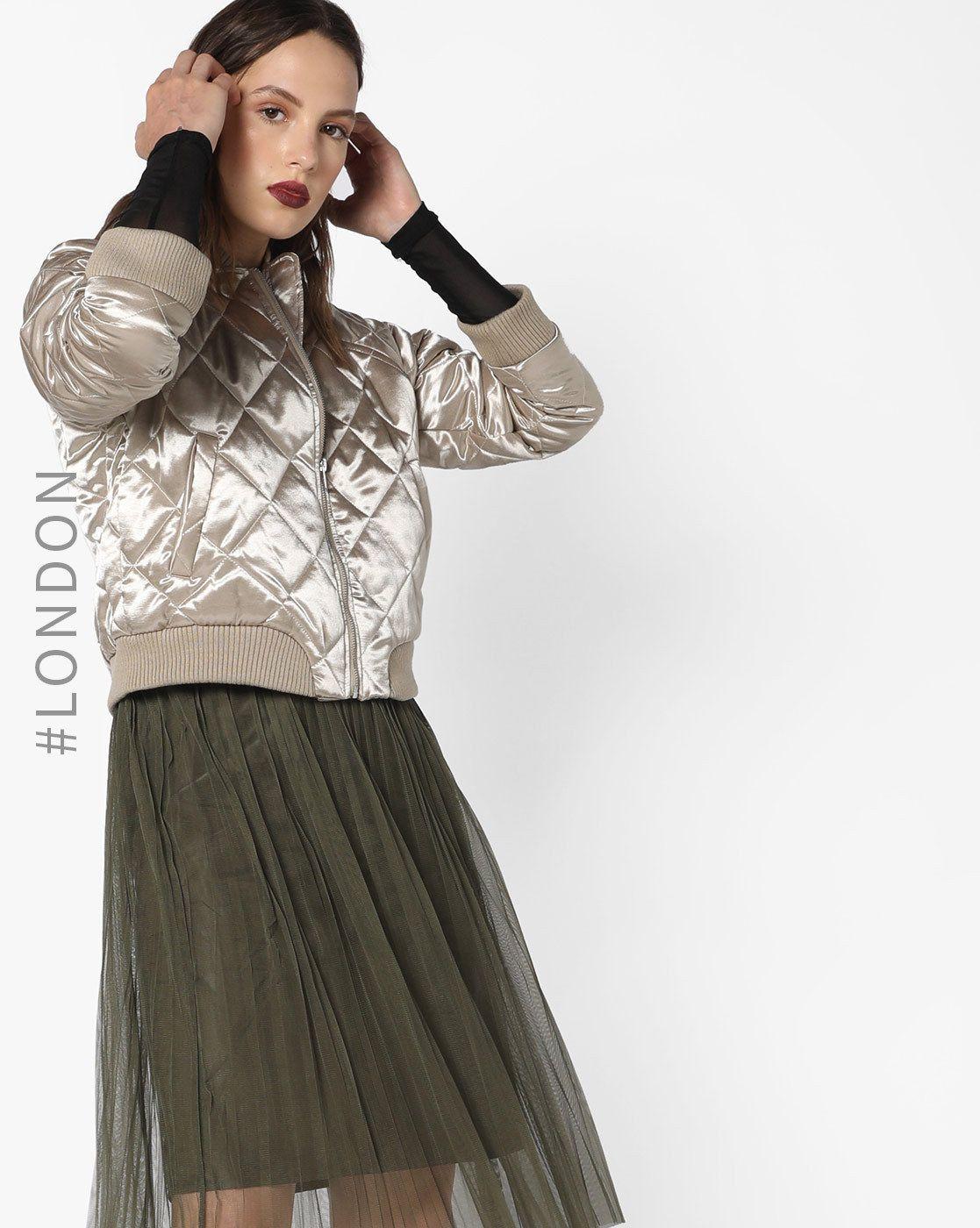 5a6418698 Buy Glamorous Women Gold Front-Zip Quilted Biker Jacket   AJIO ...