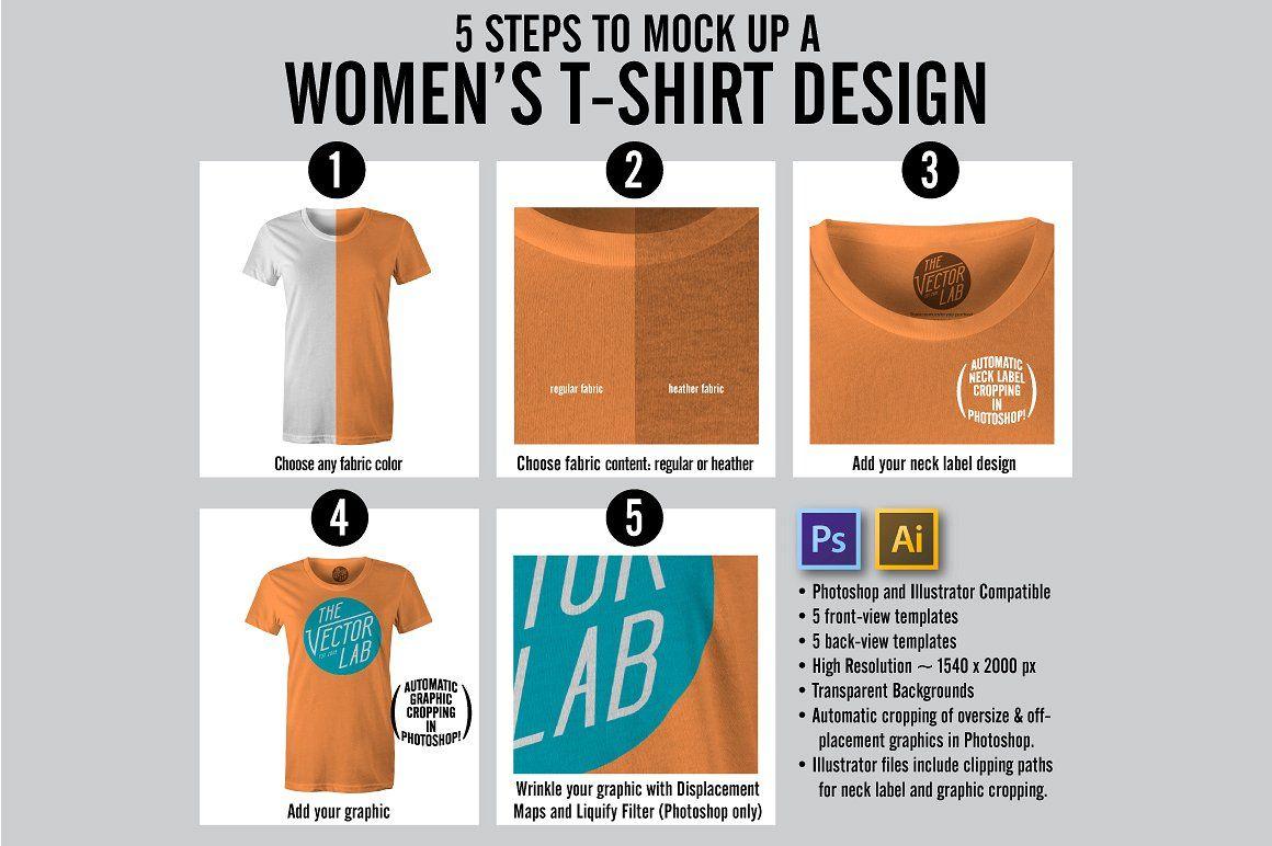 Women S T Shirt Mockup Templates Label Neck Texture Layer