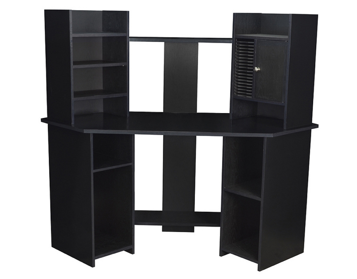 Regency Corner Desk with Vertical Storage in Black
