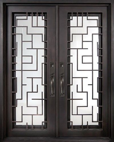 64x82 Sunrise Iron Double Door. Beautiful wrought iron front entry door with grille from Door & 64x82 Sunrise Iron Double Door. Beautiful wrought iron front entry ... pezcame.com