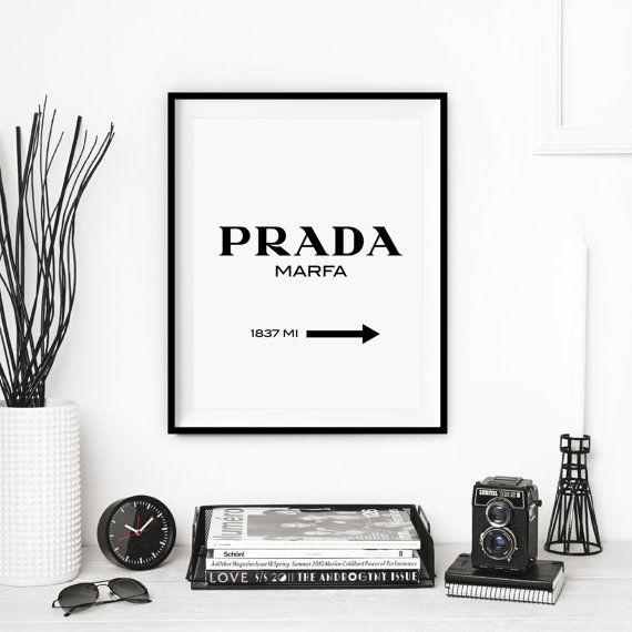 Typography Poster Prada Black And White Art Print Gift For