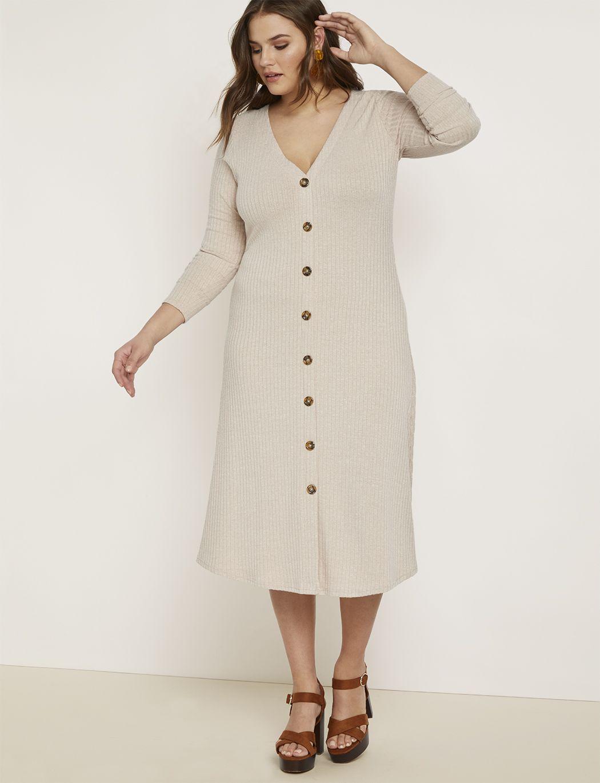 Long Sleeve Button Front Dress Women S Plus Size Dresses Eloquii Plus Size Outfits Evening Dresses Plus Size Plus Size Dresses [ 1370 x 1050 Pixel ]