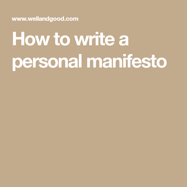 How To Write A Personal Manifesto Writing Family Mission Statements Chef Statement