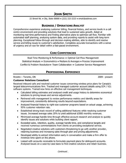 Click Here to Download this Business or Operations Analyst Resume - member service representative sample resume
