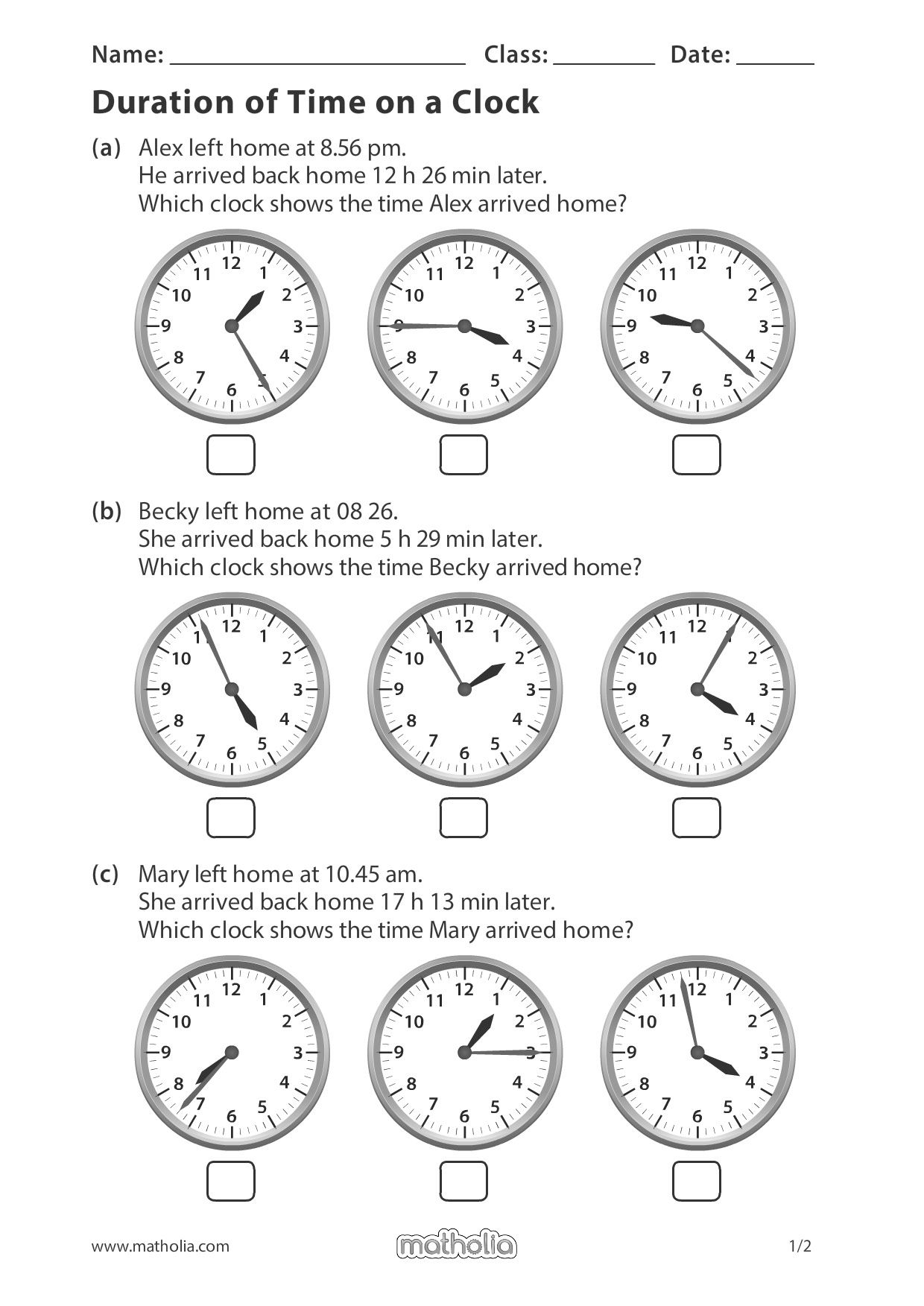 small resolution of Duration of Time on a Clock   Math addition worksheets