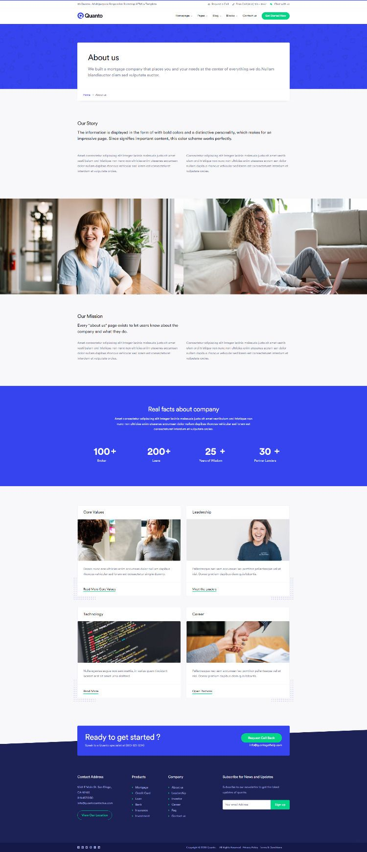 Quanto Creative Multipurpose Responsive Html Template About Us Page Design Html Templates Page Layout Design