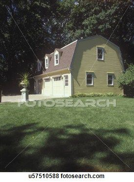 Outbuildings Garages Yellow Dutch Colonial Gambrel Roof Garage Three Dormers Three Car Garage With Windows Driveway Stock Photo U57510588 Gambrel Gambrel Roof Dutch Colonial Homes