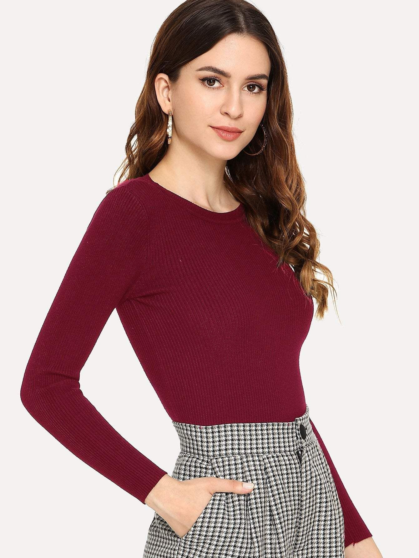 e3382a0c76 Solid Ribbed Skinny Jumper