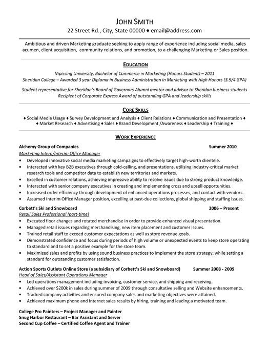 A Professional Resume Template For Marketing Intern Want