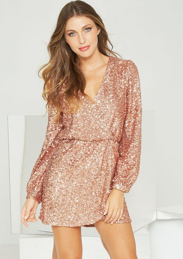 angelina sequin wrap dress in rose gold clothes - Gold Color Dress