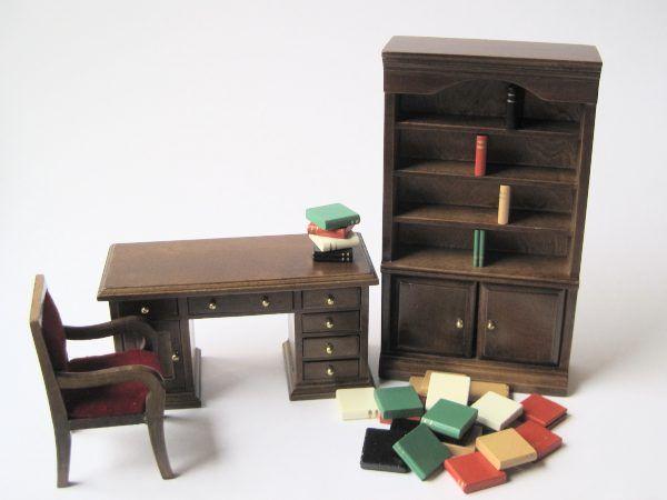 Modernes Puppenhaus Arbeitszimmer Puppenhausmöbel 1:12 | C28047 /  EAN:3597832804700