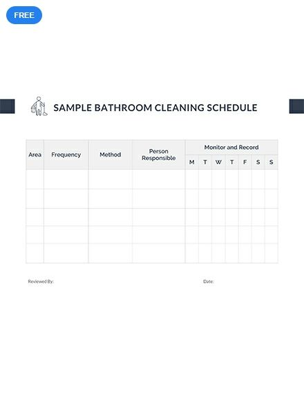 free sample bathroom cleaning schedule schedule templates