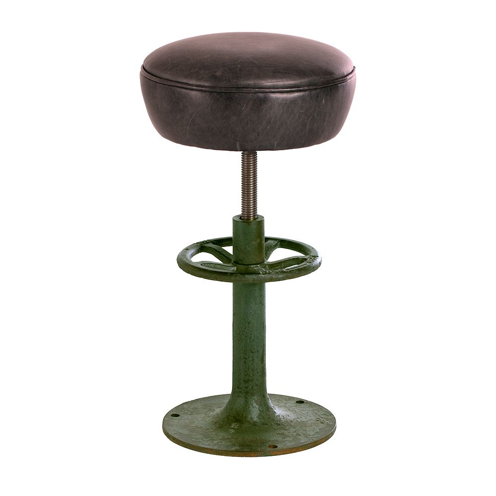Keeler Round Metal Barstool Brown And Green Dining Chairs