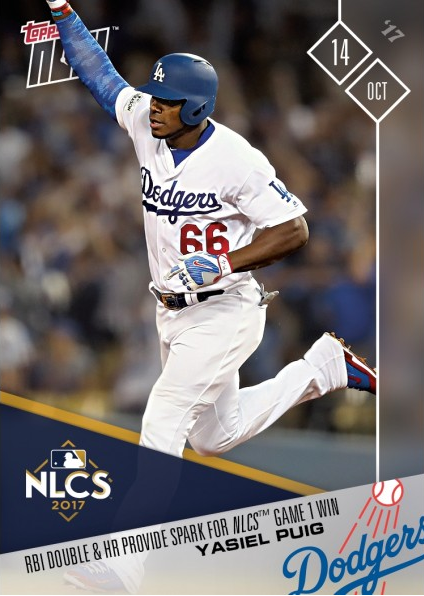 2017 Topps Now - #763 & #764 - Taylor and Puig Lead Dodgers to Game 1 Victory