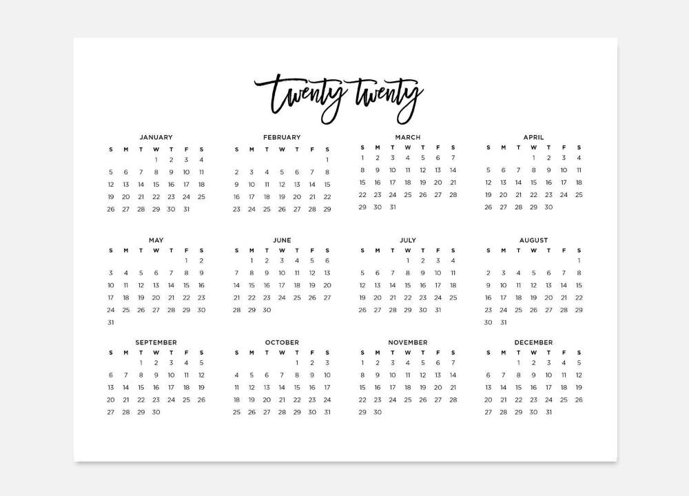 2020 Simple Calendar 2020 Landscape Calendar 2020 Calendar 2020 Year Calendar 2020 At A Glance Calendar 2020 Planner 2020 Calendars Landscape Calendar At A Glance Calendar Planner Pages