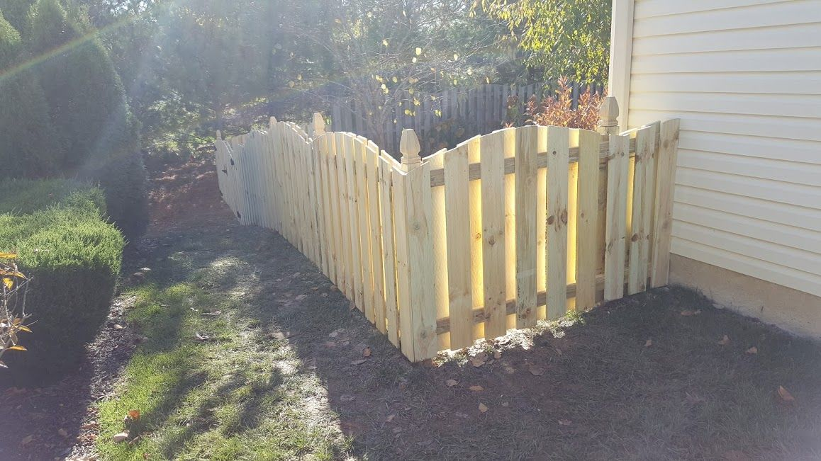 4 Ft Tall Convex Shadowbox Fence Pine This Is An Example Of A Slightly More Customized Fence While Still Be Fence Styles Types Of Fences Garden Fencing