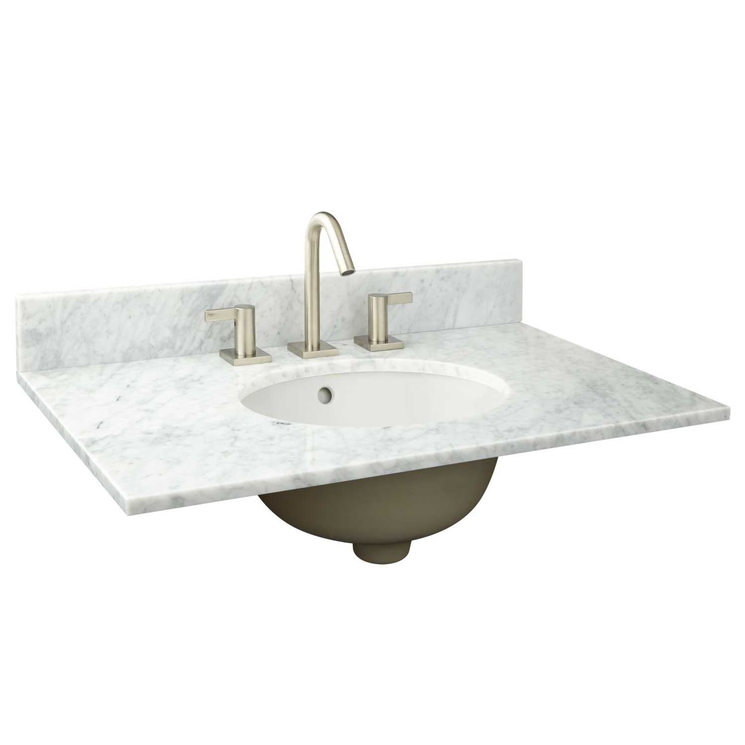 31 X 19 Narrow Depth Marble Vanity Top For Undermount Sink