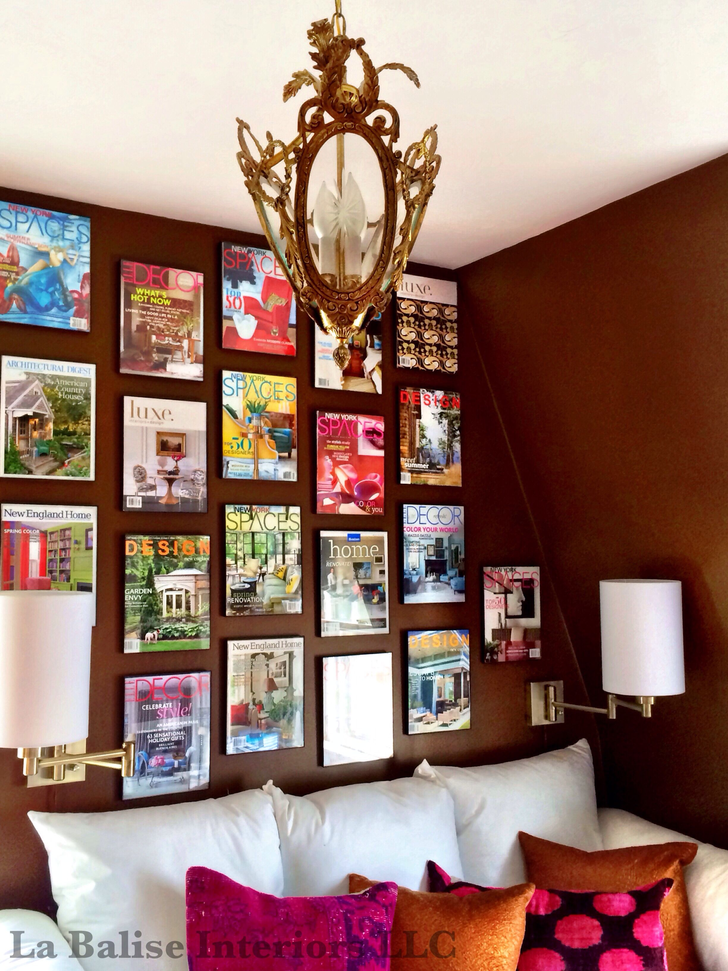 home office magazine. Home Office - Magazine Covers Provide A Colorful Wall Collage In This Office, And I