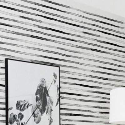 Foundstone Casper Watercolor Stripes Paintable Peel And Stick Wallpaper Panel In 2020 Black White Wallpaper Peel Stick Wallpaper Wallpaper Panels