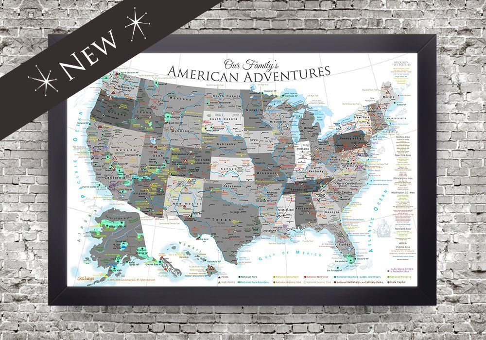 National Parks Map and USA Map - Large Framed Push Pin Map ...