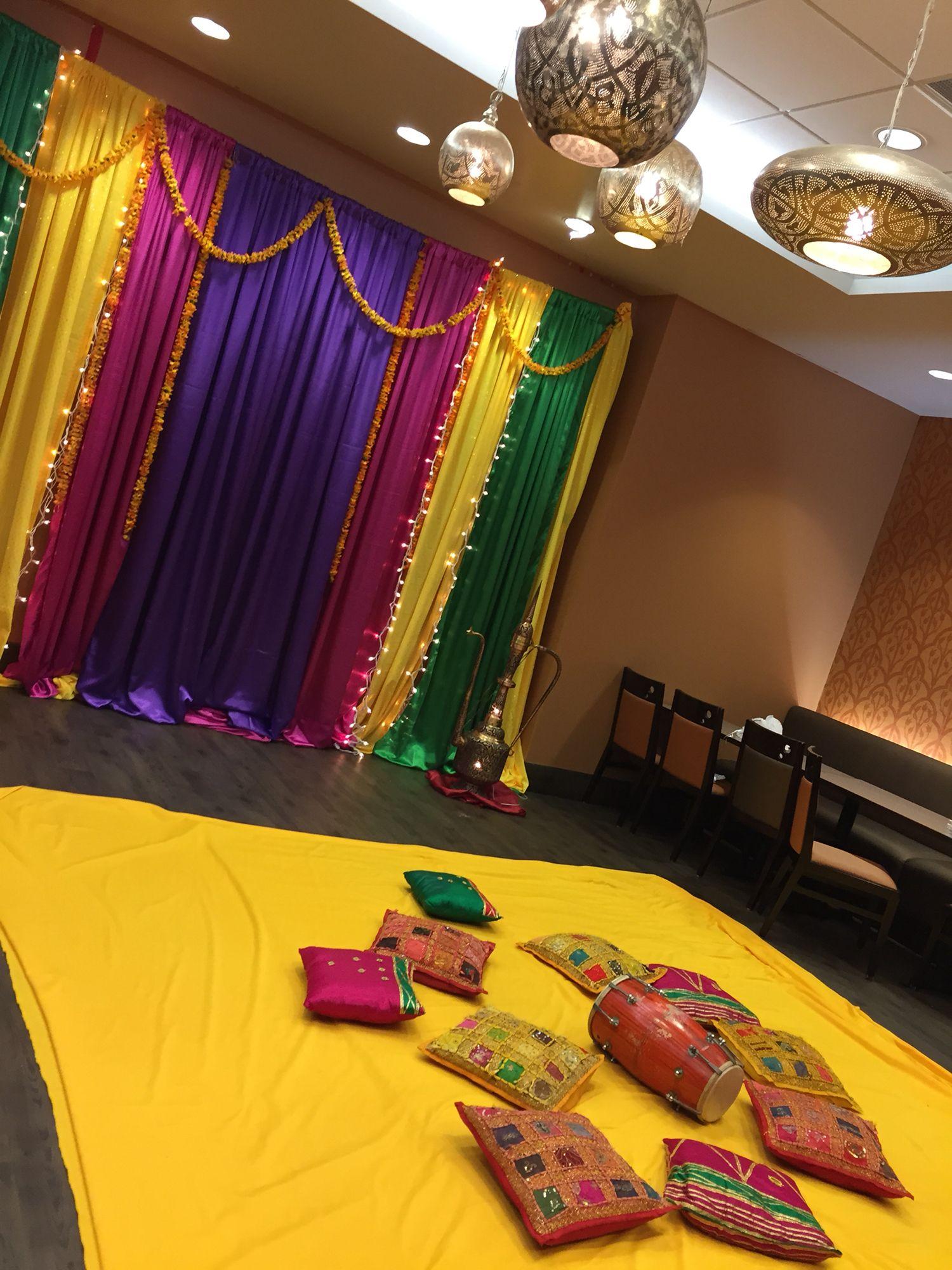 Wedding stage decor ideas  Henna decor Dholki night Pakistani henna night Sanger decor Soniaus