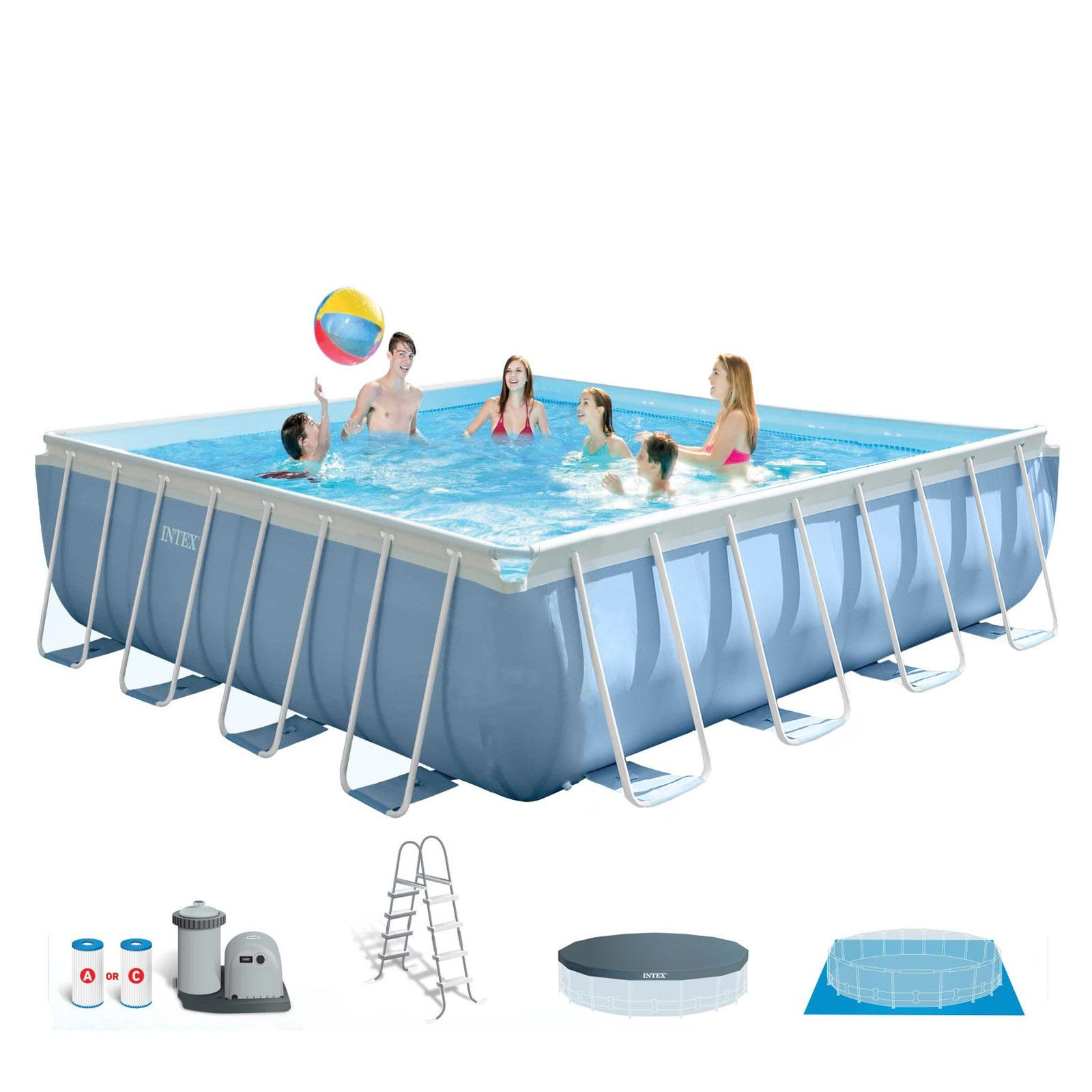Intex 14 X 42 Prism Xl Frame Square Above Ground Pool Set With Filter Pump Square Above Ground Pool In Ground Pools Above Ground Swimming Pools