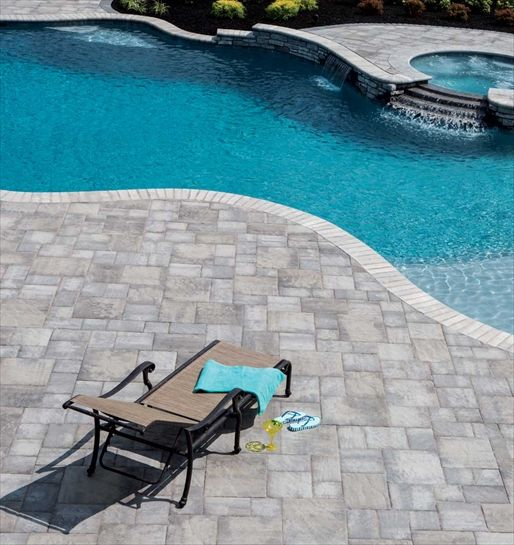 Ep henry pool deck in bristol stone bristol stone ash - Installing pavers around swimming pool ...