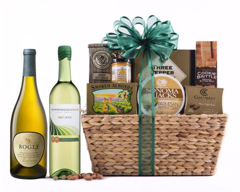 White Wine Delight Gift Basket | Includes: Bogle Chardonnay, Pepperwood Pinot Grigio, California Smoked Almonds, Sonoma Jacks Parmesan Peppercorn Cheese, ...