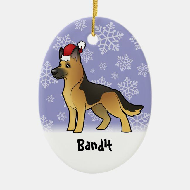 Christmas German Shepherd (add your pets name) Ceramic Ornament