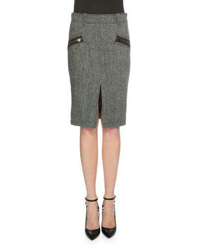 Herringbone Pencil Skirt, Charcoal