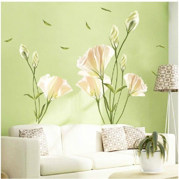 DIY Home Decor Art Vinyl Removable Large Wall Stickers White Lily - How to make vinyl wall decals at home
