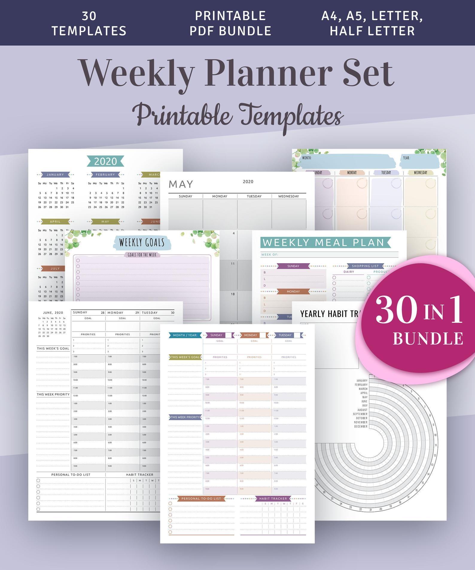 Weekly Hourly Planner Kit Printable Week Plan Templates