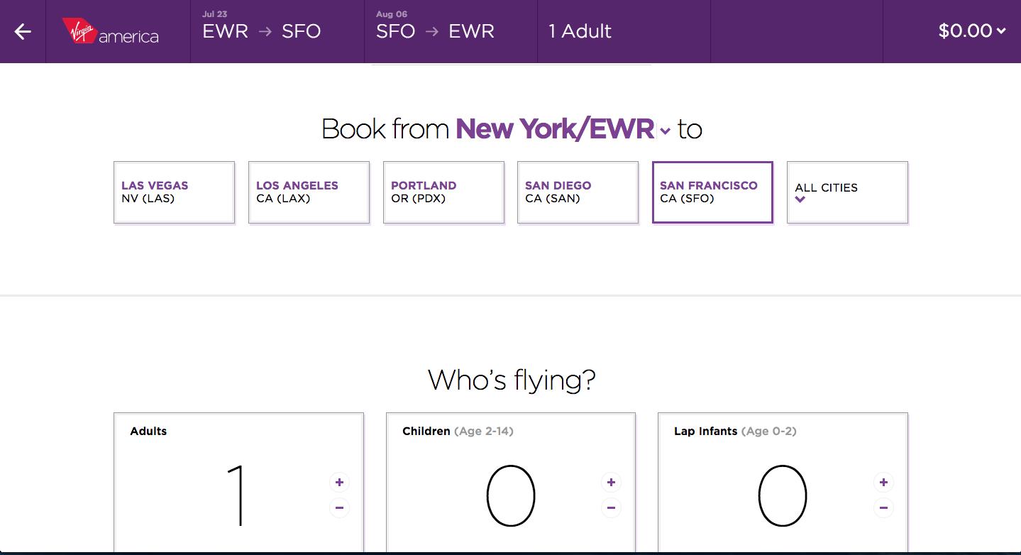 Virgin America: form filling - signup