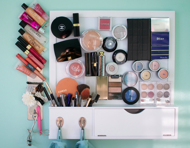 Add little magnet strips to the back of your makeup and create this awesome makeup magnet board. | 16 DIYs That Will Make Your Vanity Totally Cute And Organized AF