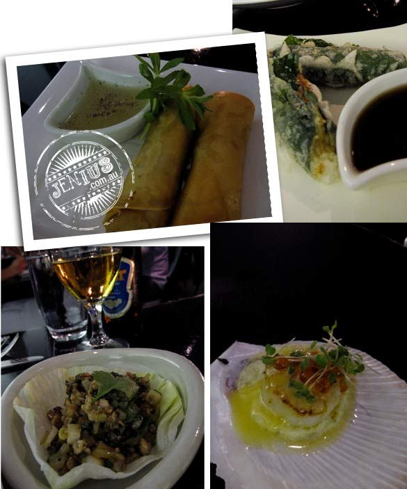 Coda Bar and Restaurant, Melbourne - quail lettuce delight, lup cheong, shitake mushroom, coriander and water chestnuts, crispy prawn and ta...