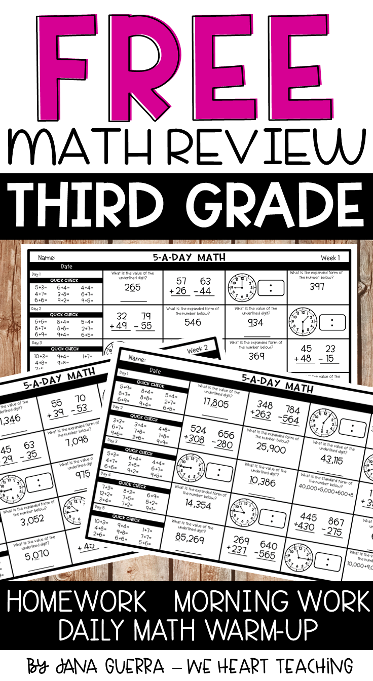 FREE 5-a-Day Math spiral math review for 3rd grade! Perfect for a daily  warm-up [ 1344 x 736 Pixel ]