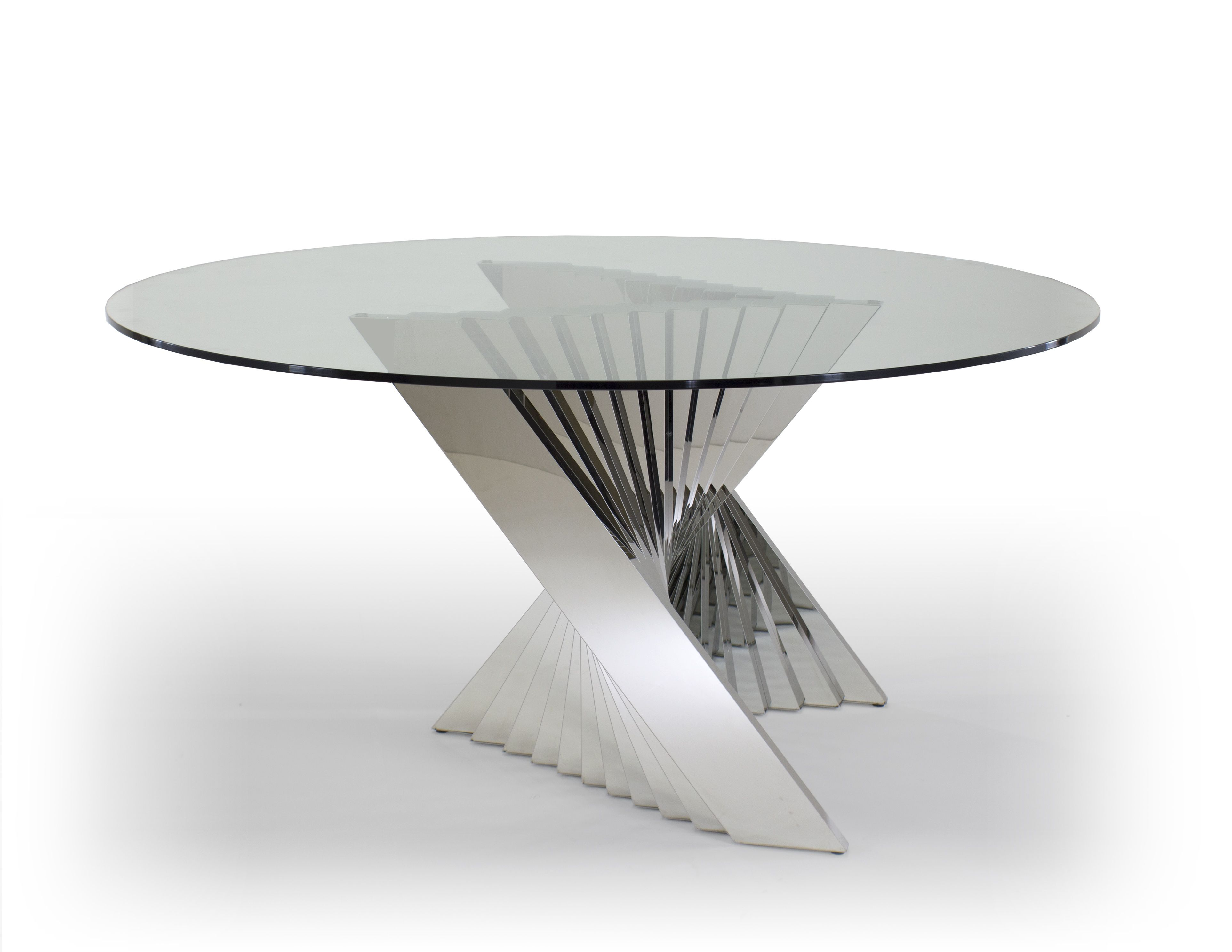 Ace Dining Table Round Glass Top And Metal Base Dining Table