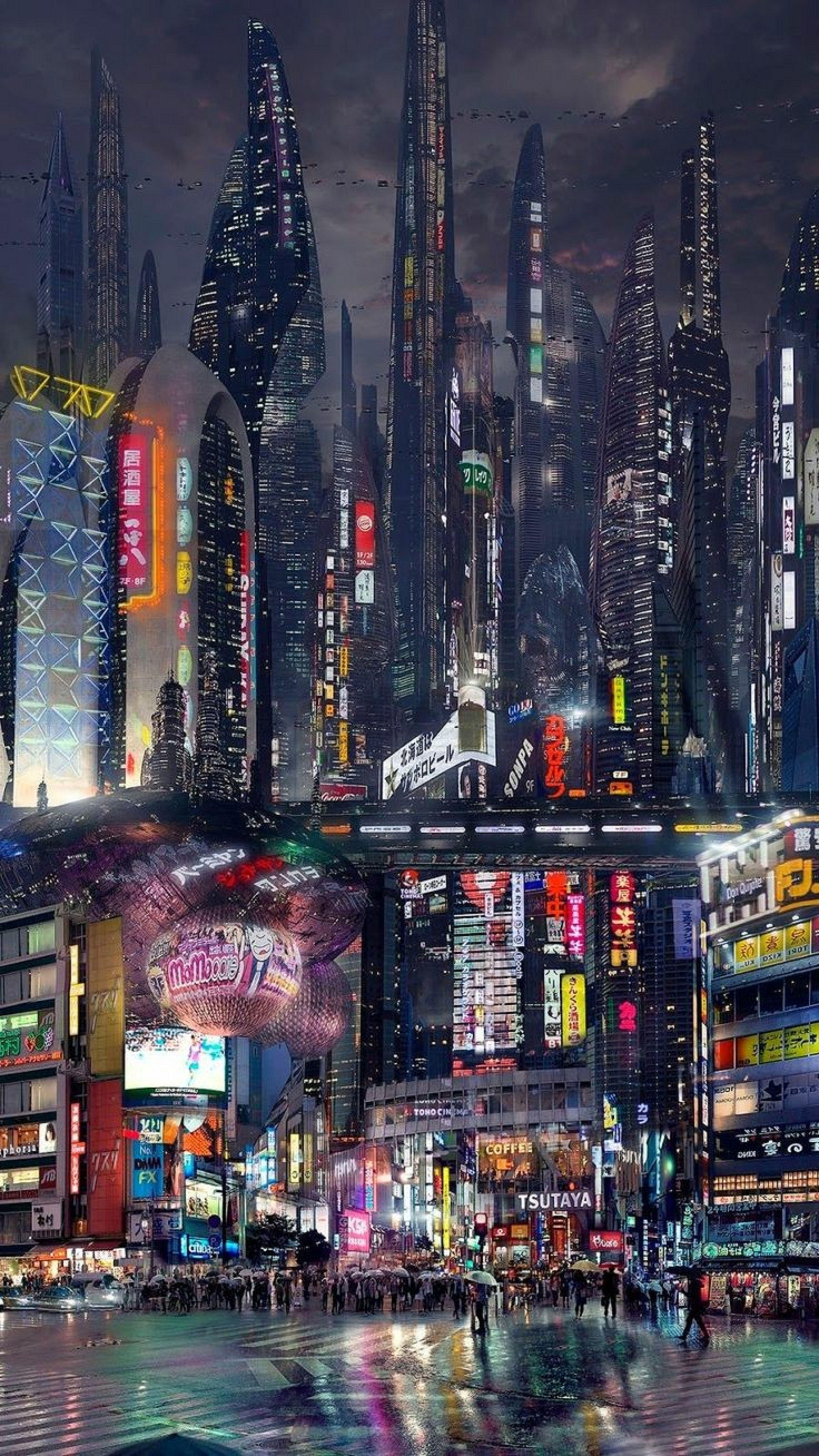 Abstract Design 33 Case Skin For Samsung Galaxy Cyberpunk City Sci Fi City Futuristic Art