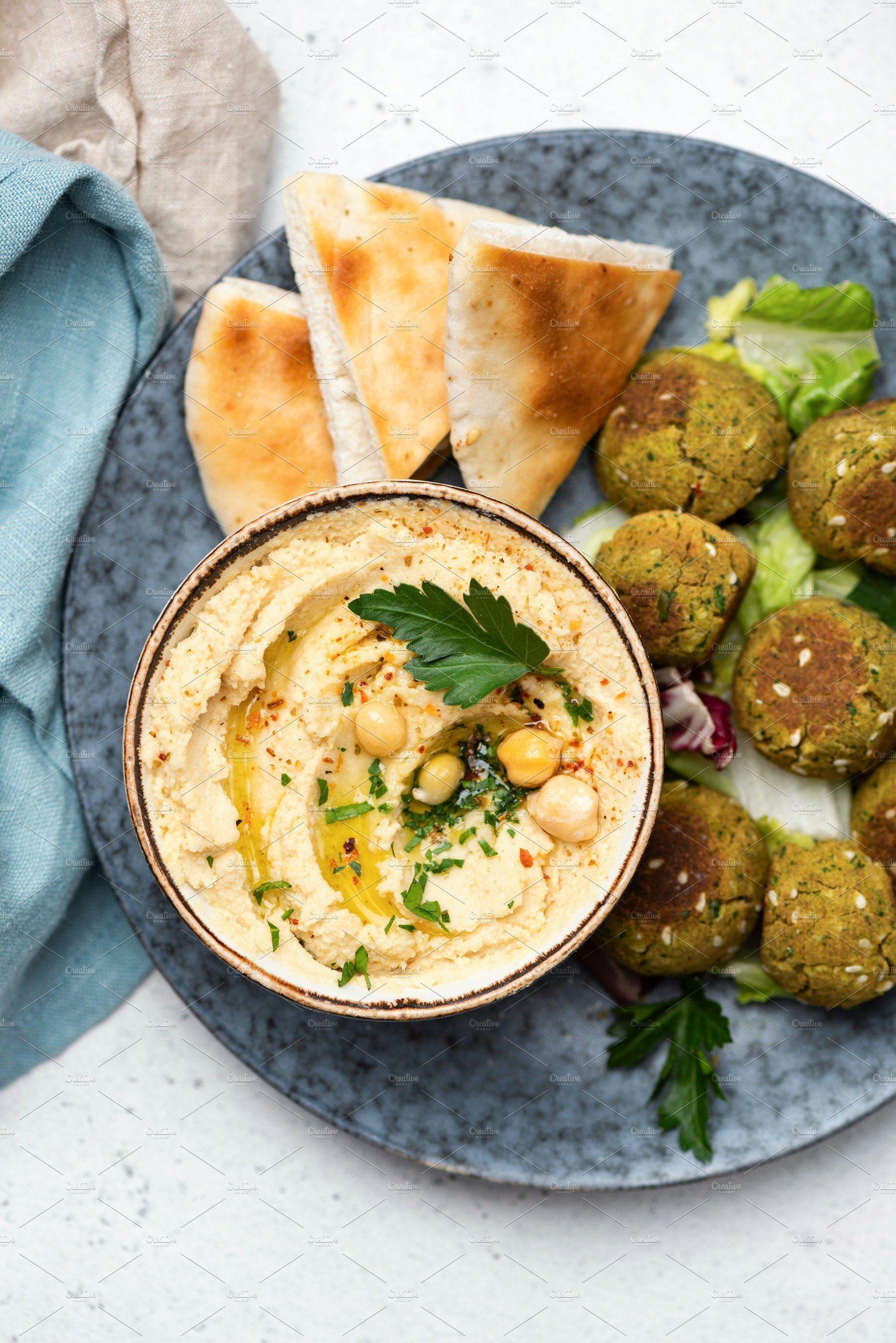 Chickpea Hummus Falafel Pita Bread In 2021 Chickpea Hummus Falafel Hummus