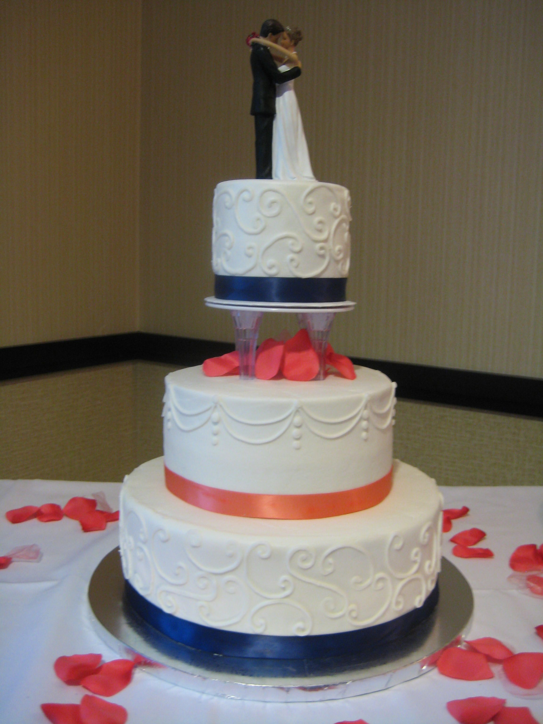 3 Tier Wedding Cake With Small Separation Scrollwork And - Small Blue Wedding Cakes