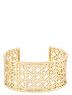 TORY BURCH Perforated logo cuff bracelet