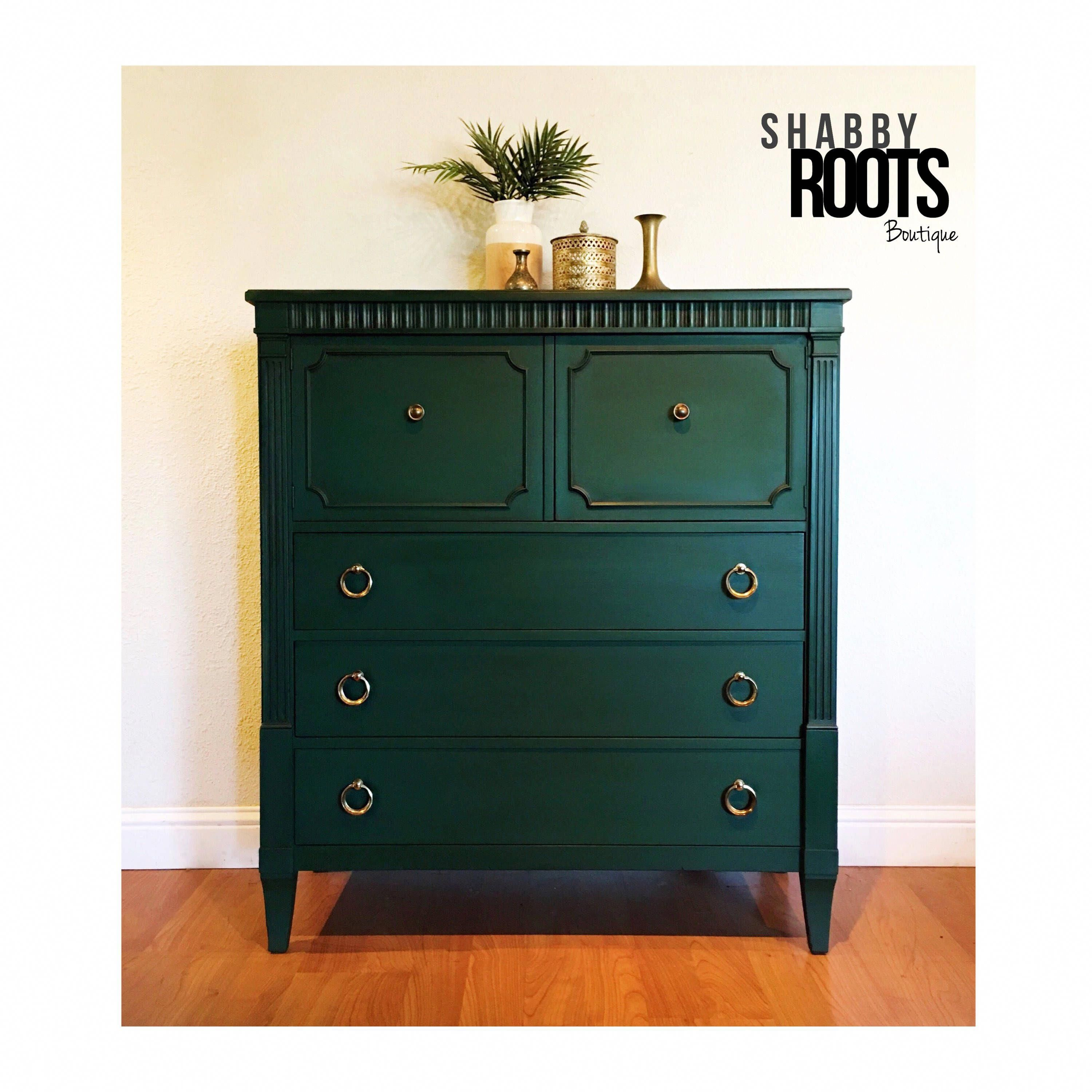 Excited To Share The Latest Addition To My Etsy Shop New Emerald Green Vintage Tall Dresser Be Green Painted Furniture Refurbished Furniture Chic Furniture [ 3000 x 3000 Pixel ]