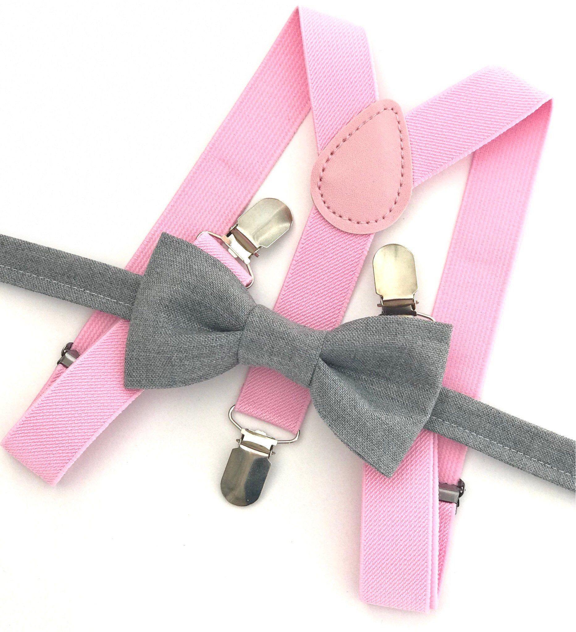 Grey bow tie suspender set pink suspenders mens